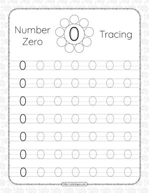 Printable Dotted Number 0 Zero Tracing Pdf Worksheet