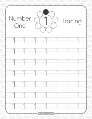 Printable Dotted Number 1 One Tracing Pdf Worksheet
