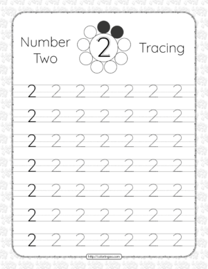 Printable Dotted Number 2 Two Tracing Pdf Worksheet