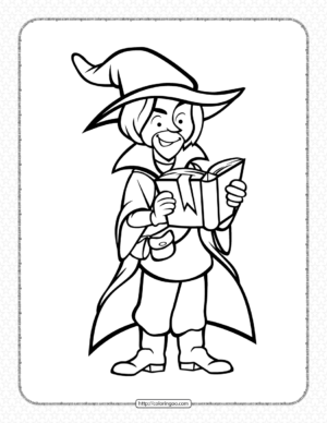Wizard with The Book Coloring Pages