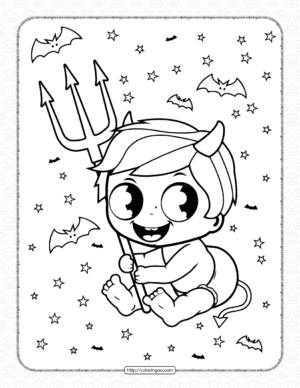 Baby Boy in Halloween Devil Costume Coloring Page