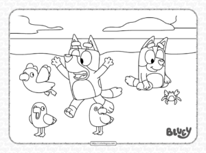 Bluey Beach Coloring Pages