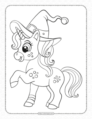 Cute Unicorn Halloween Coloring Pages