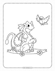 Dragon and the Bird Coloring Pages