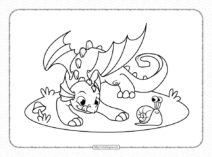 Dragon Playing with a Snail Coloring Pages