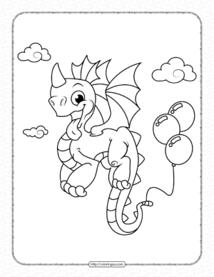 Dragon with Ballons on Tail Coloring Pages