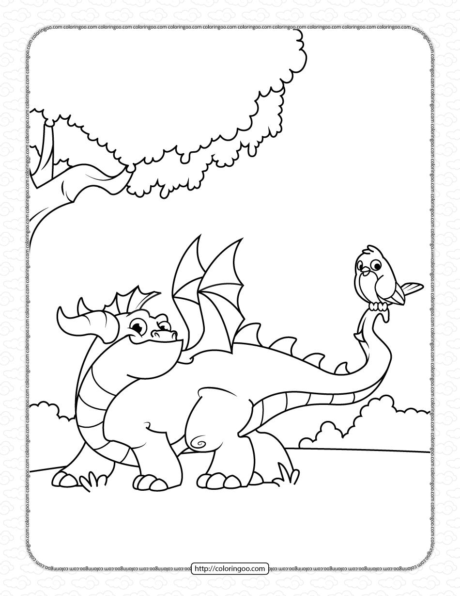 Dragon with Bird on Tail Coloring Pages