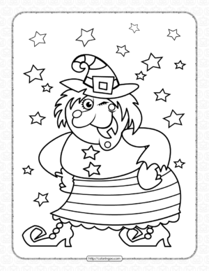 Halloween Happy Witch Coloring Page