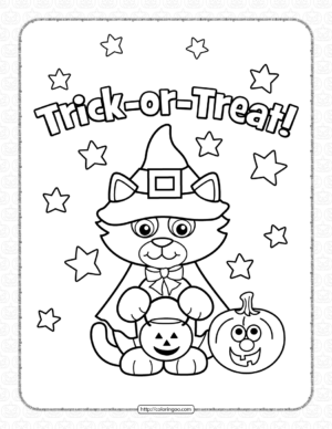 Halloween Kitty Costume Coloring Page