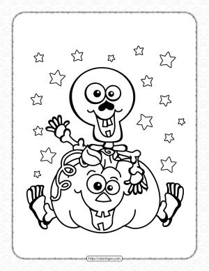 Halloween Skeleton Pumpkin Coloring Page