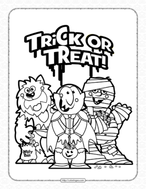 Halloween Trick or Treat Coloring Pages