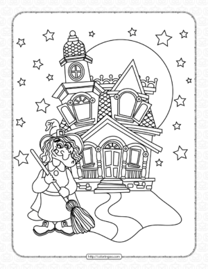 Halloween Witch Castle Coloring Page