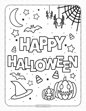 Happy Halloween Coloring Pages for Kids