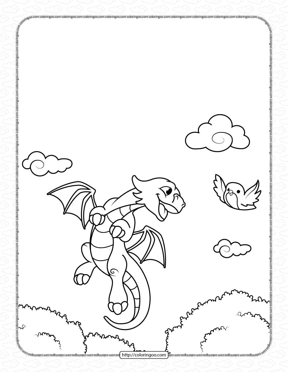 Little Dragon Flying with a Bird Coloring Pages
