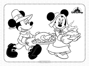 Mickey and Minnie Mouse Thanksgiving Coloring Pages