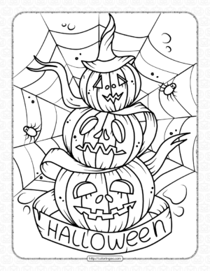 Scary Pile of Pumpkins Spiders Web Coloring Page