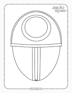 Squid Game Circle Mask Coloring Page